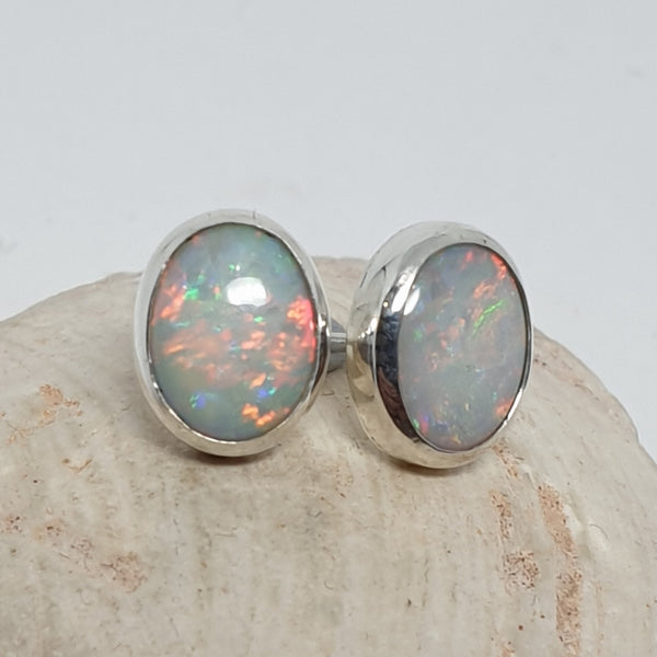 Solid Coober Pedy Rainbow Opal Earrings 076B