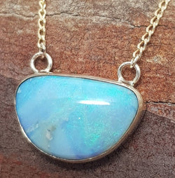 Mermaid Opal 9k Gold Pendant & Necklace 063I