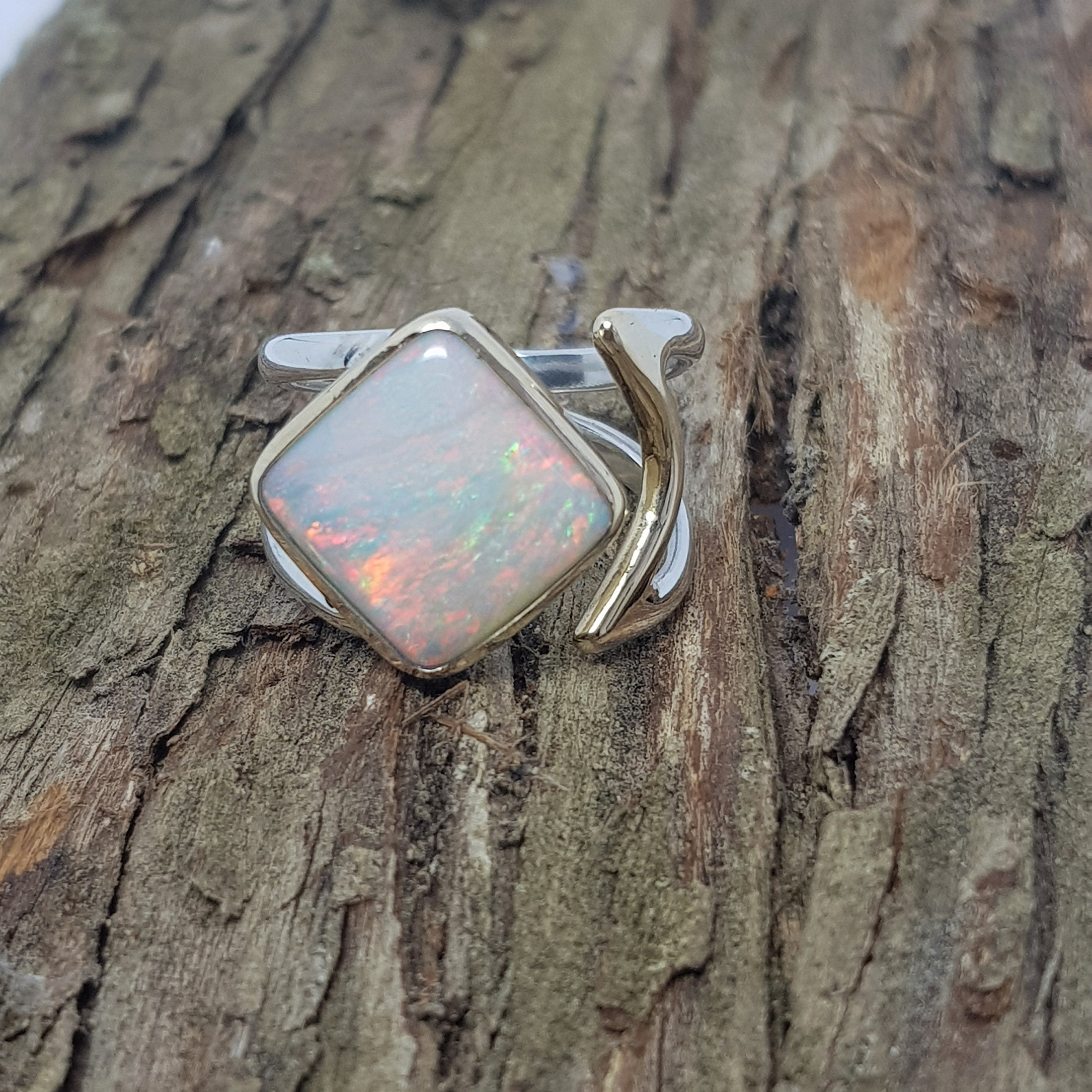Coober Pedy Rainbow Opal Silver & Gold Adjustable Ring 078B