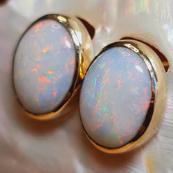 Coober Pedy Crystal Opal Earrings 060A5 ** Big $ Discount **