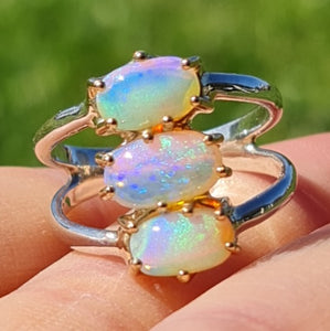 Trio Australian Crystal Opals Gold Silver Ring (watch the video) 058N