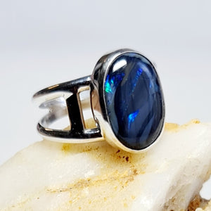 Semi Black Opal Ring in Silver and Gold 080A