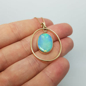 Rare Opalised Sea Shell Pendant in 9 carat Gold 066G