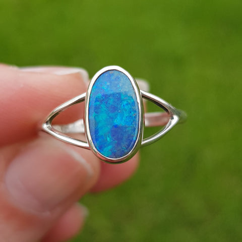 Mermaid Blue Mintabie Opal Ring 061D