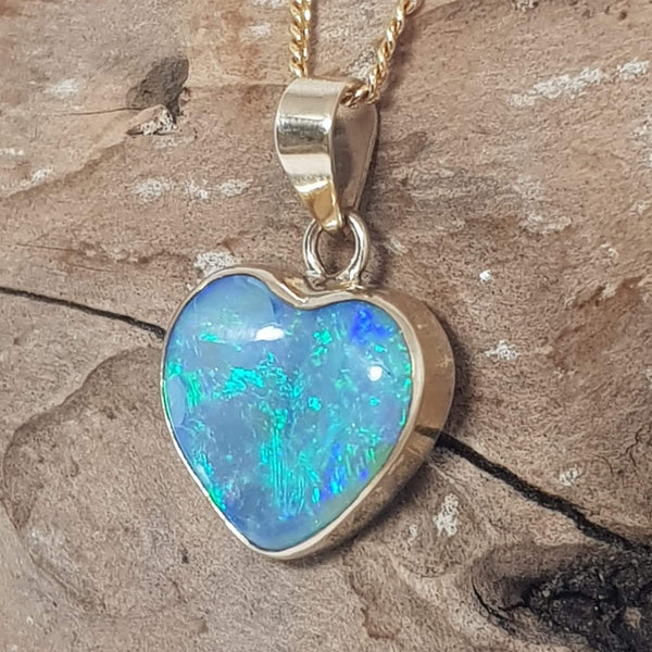 Heart shaped electric green blue gold pendant 077B