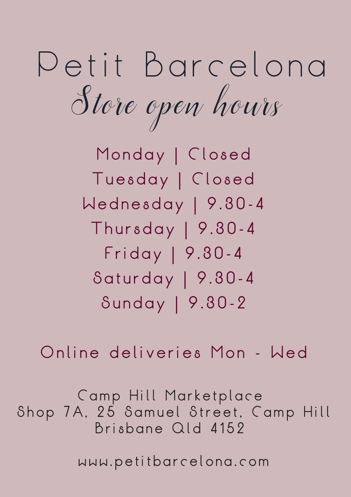 Petit Barcelona shop open times and online shipping times