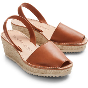 Wedge Espadrilles  | Tan Leather - PetitBarcelona
