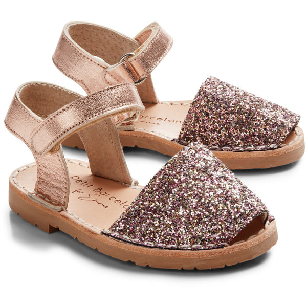 Emme´s shoes | Rose Mocha Glitter | Children (Velcro) - PetitBarcelona