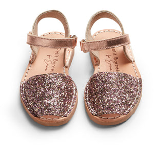 Emme´s shoes | Rose Mocha Glitter | Children (Velcro) - Petit Barcelona Avarcas