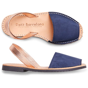 Flat Menorquinas | Navy & Rose Gold