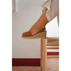 Wedge Espadrilles  | Honey Leather - Petit Barcelona Avarcas