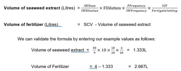 Calculate seaweed and fertilizer to combine in a 4L container