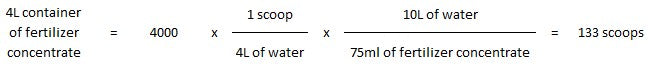 Fertilizer powder dilution calculation