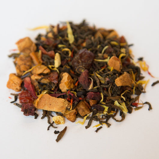 Blood Orange Pu'erh flavored pu'erh tea
