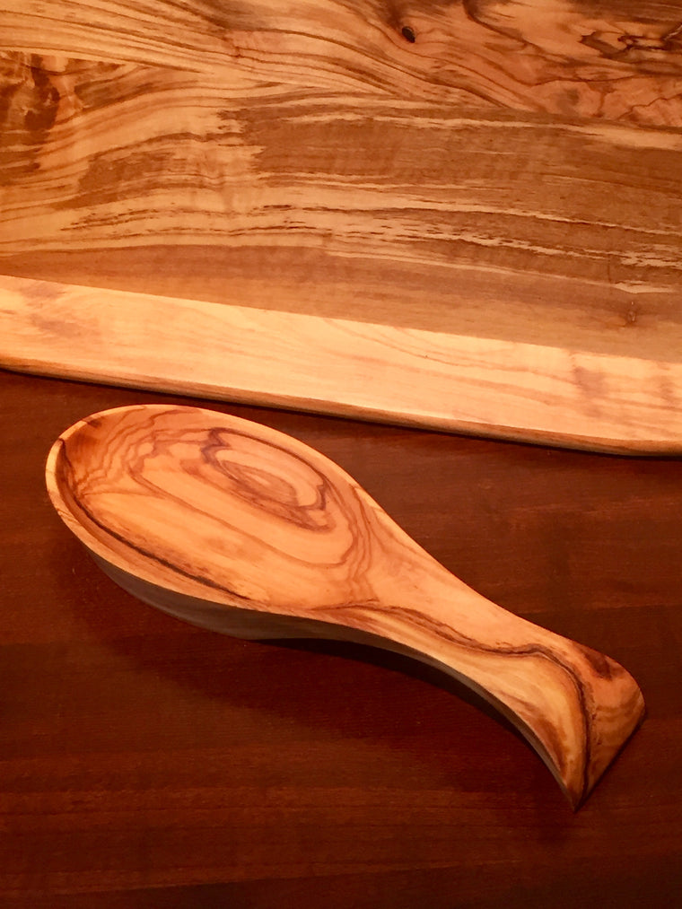 Natural Olive Wood Spoon Rest
