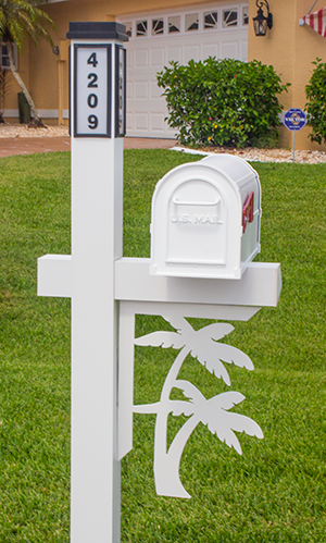 Decorative Mailbox Bracket - Palm Trees