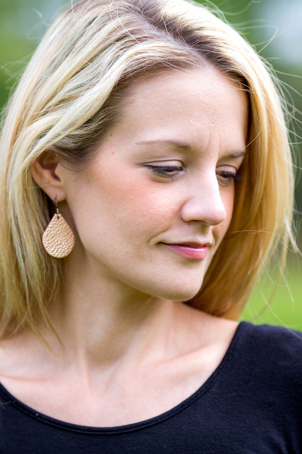 ZOEY (3 sizes available!) -  Leather Earrings  ||  <BR> PEPPERMINT MOCHA COFFEE (FAUX LEATHER)