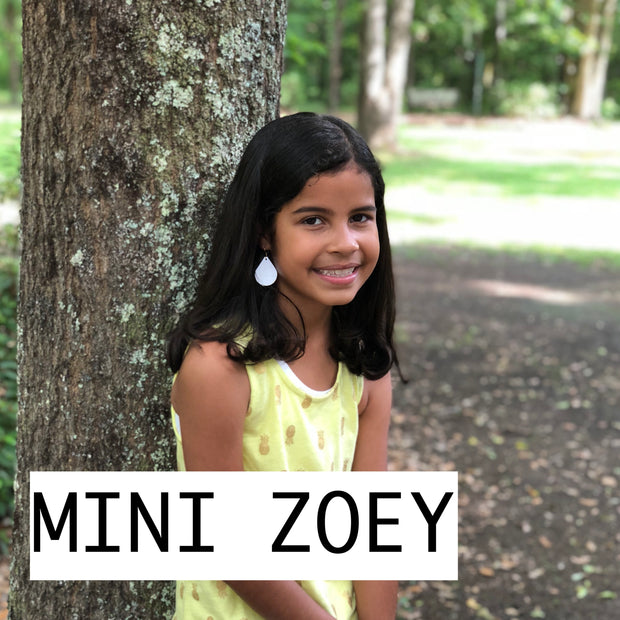 ZOEY (3 sizes available!) -  Leather Earrings  || MINI BLUE/RED FLORAL ON WHITE