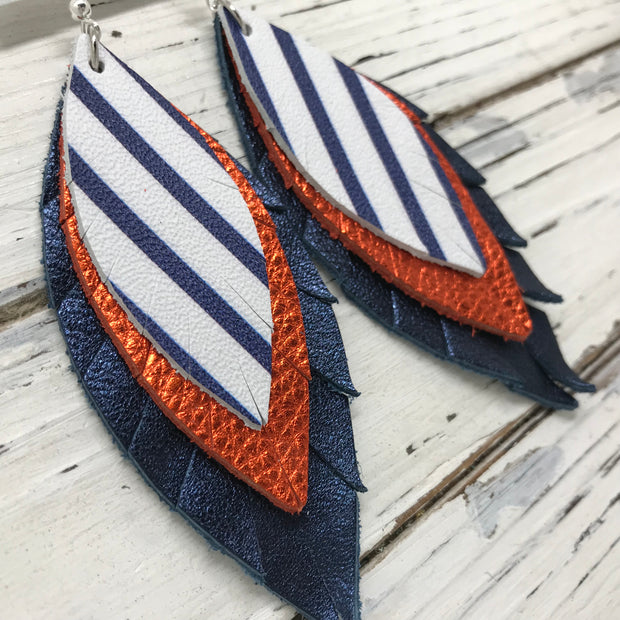 INDIA - Leather Earrings  ||   WHITE WITH BLUE STRIPES, METALLIC ORANGE PEBBLED, METALLIC NAVY BLUE PEBBLED