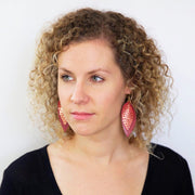 ALLIE -  Leather Earrings  || PEPPERMINT MOCHA PRINT (FAUX LEATHER), <BR> METALLIC RED PEBBLED