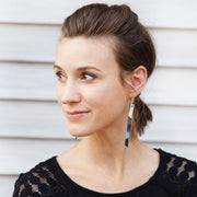 AUDREY - Leather Earrings  ||   DARK TEAL GLITTER, SHIMMER TEAL, MATTE DARK TEAL, NAVY GLITTER, METALLIC NAVY