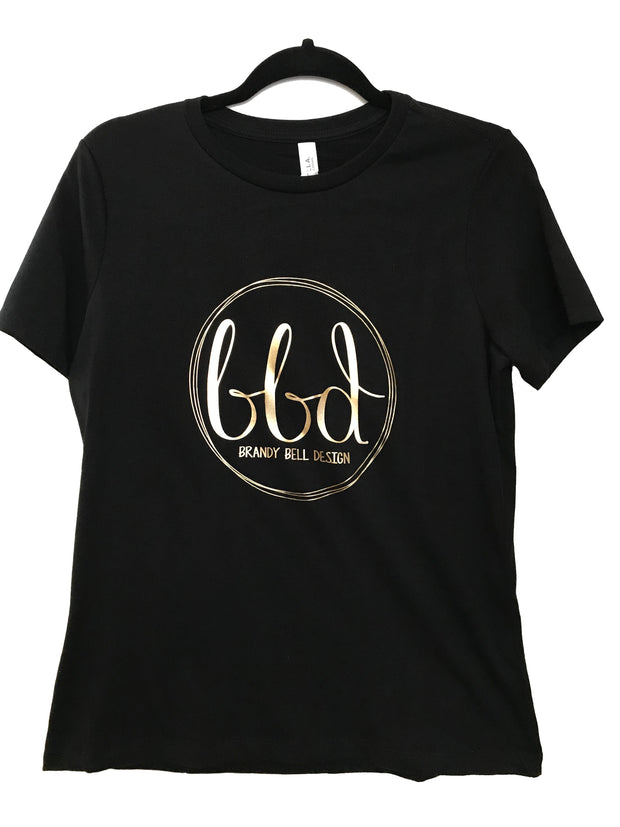 BBD T-Shirt | Black/Gold Relaxed Fit Ladies Tee