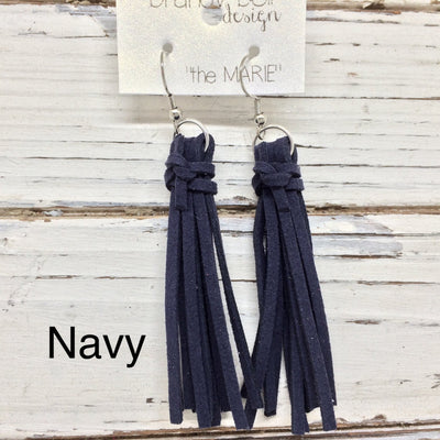 MARIE - Faux Suede Tassel Earrings  || NAVY BLUE