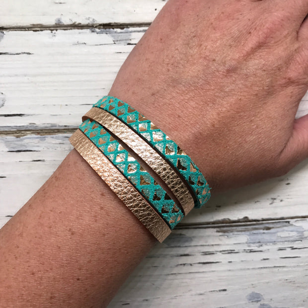 WRAP BRACELET - SPENCER ||    Handmade by Brandy Bell Design ||  SHIMMER TEAL / WHITE WITH BLACK POLKADOTS
