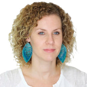 GINGER - Leather Earrings  ||  <BR>  SPRING FLORAL ON WHITE, <BR> MATTE MUSTARD YELLOW, <BR> DARK TEAL BRAIDED
