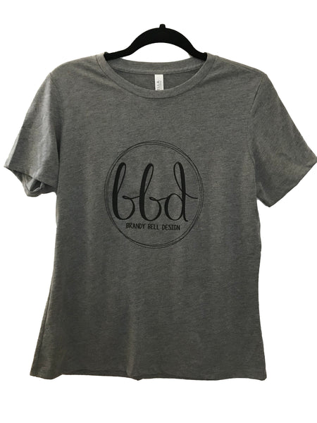 BBD T-Shirt | Heather Gray/Black Relaxed Fit Ladies Tee
