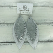 INDIA - Leather Earrings   ||  <BR>  WHITE & SILVER DISTRESSED  <BR> METALLIC SILVER PANAMA WEAVE <BR> MATTE WHITE COBRA