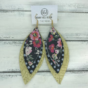 INDIA - Leather Earrings   ||  <BR>  PINK FLORAL ON BLACK  <BR> BLACK WITH WHITE POLKADOTS <BR> YELLOW PANAMA WEAVE