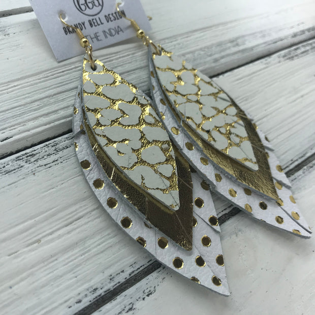 INDIA - Leather Earrings   ||  <BR>  METALLIC GOLD ACCENTS ON WHITE  <BR> METALLIC GOLD <BR> WHITE WITH METALLIC GOLD POLKADOTS