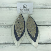 INDIA - Leather Earrings   ||  <BR>  IVORY STINGRAY  <BR> SHIMMER NAVY <BR> PEARL WHITE