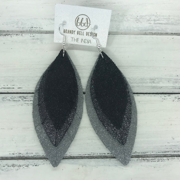 INDIA - Leather Earrings   ||  <BR>  SHIMMER BLACK  <BR> SHIMMER PEWTER <BR> SHIMMER GRAY