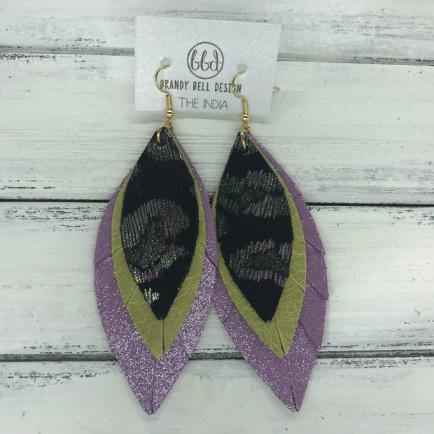 INDIA - Leather Earrings   ||  <BR>  METALLIC IRIDESCENT CHEETAH  <BR> PEARLIZED OCHRE <BR> SHIMMER LILAC