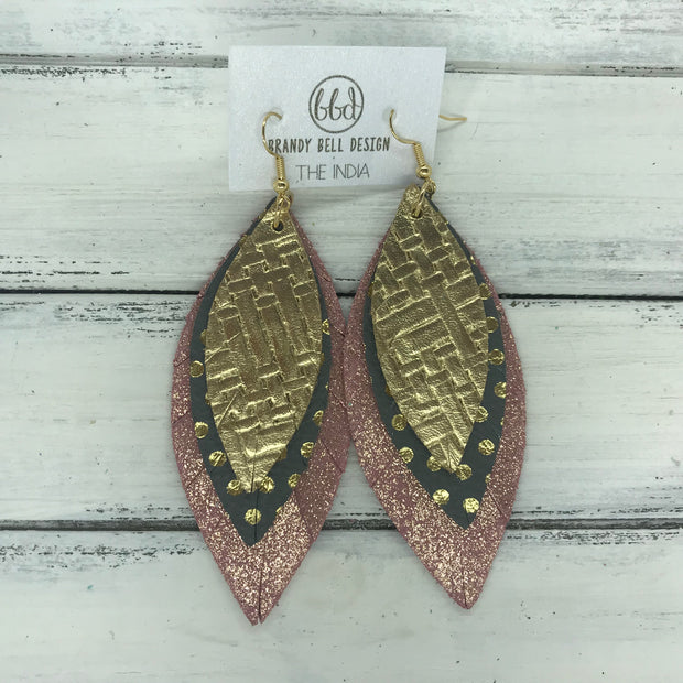 INDIA - Leather Earrings   ||  <BR>  METALLIC GOLD PANAMA WEAVE  <BR> GRAY WITH GOLD POLKADOTS <BR> SHIMMER VINTAGE PINK