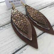 INDIA - Leather Earrings   ||  <BR>  METALLIC ROSE GOLD DRIPS ON BROWN  <BR> METALLIC ROSE GOLD SMOOTH <BR> DISTRESSED BROWN