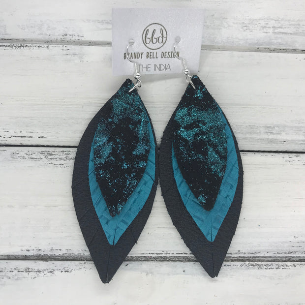 INDIA - Leather Earrings   ||  <BR>  METALLIC TEAL NORTHERN LIGHTS  <BR> TEAL PANAMA WEAVE <BR> MATTE BLACK