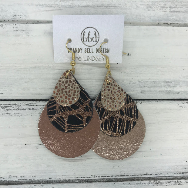 LINDSEY - Leather Earrings  ||   <BR> METALLIC ROSE GOLD DRIPS, <BR> METALLIC COPPER WEBS, <BR> METALLIC ROSE GOLD SMOOTH