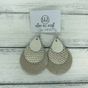 LINDSEY - Leather Earrings  ||   <BR> PEARL WHITE, <BR> METALLIC CHAMPAGNE COBRA, <BR> SHIMMER CHAMPAGNE