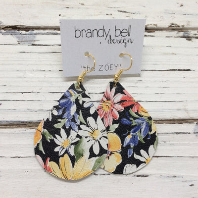 ZOEY (3 sizes available!) - Leather Earrings  ||  FLORAL WITH BLACK BACKGROUND