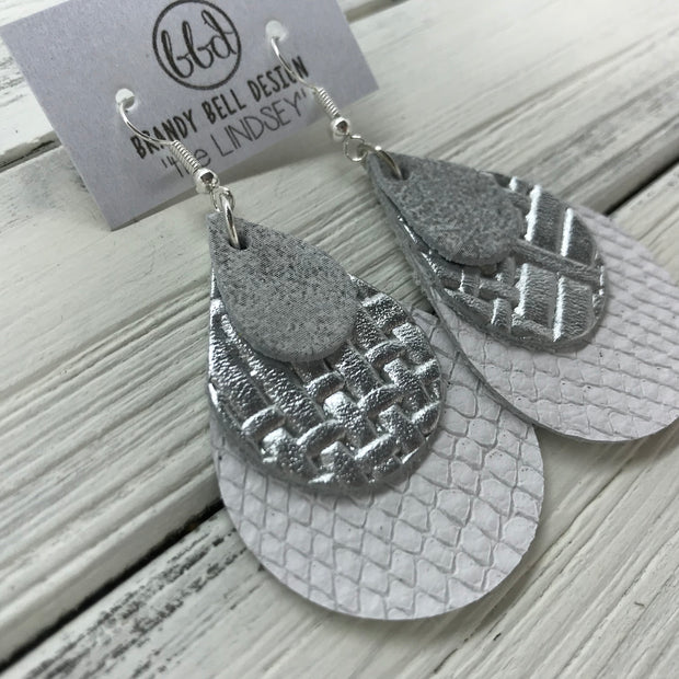 LINDSEY - Leather Earrings  ||   <BR> DISTRESSED WHITE & SILVER, <BR> METALLIC SILVER PANAMA WEAVE, <BR> MATTE WHITE COBRA