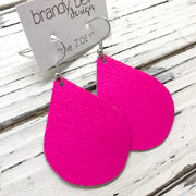 ZOEY (3 sizes available!) - Leather Earrings  ||  NEON MATTE PINK