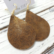 ZOEY (3 sizes available!) - Leather Earrings  ||  PEARLIZED BROWN WITH GOLD ACCENTS