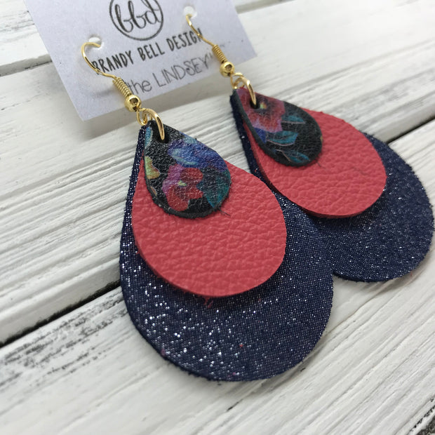 LINDSEY - Leather Earrings  ||   <BR> MULTICOLOR FLORAL, <BR> MATTE CORAL/PINK, <BR> SHIMMER NAVY