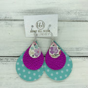 LINDSEY - Leather Earrings  ||   <BR> PINK & PURPLE MINI FLORAL, <BR> METALLIC NEON PINK, <BR> AQUA WITH WHITE POLKADOTS