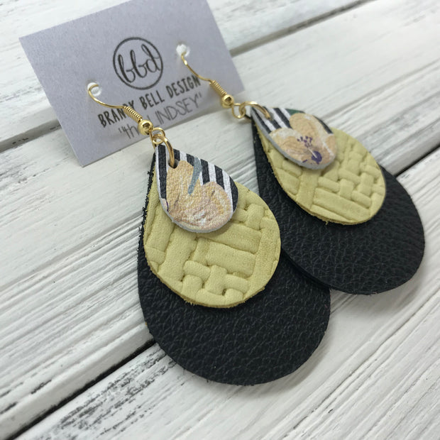 LINDSEY - Leather Earrings  ||   <BR> FLORAL ON STRIPE, <BR> YELLOW PANAMA WEAVE, <BR> MATTE BLACK