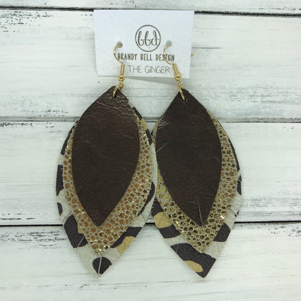 GINGER - Leather Earrings  ||  <BR>  PEARLIZED DARK BROWN, <BR> METALLIC GOLD DRIPS, <BR>  LARGE CHEETAH PRINT