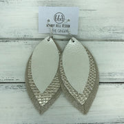 GINGER - Leather Earrings  ||  <BR>  PEARL WHITE, <BR> METALLIC CHAMPAGNE COBRA, <BR>  SHIMMER TAUPE